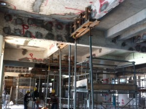 Formwork with grouting piepes on beams