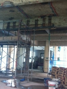 Formwork with grouting pipes